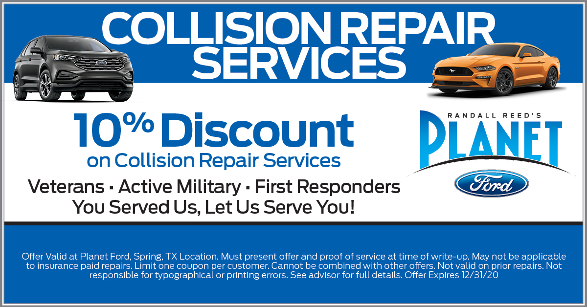 Planet Ford Collision Center Discount Veterans First Responders