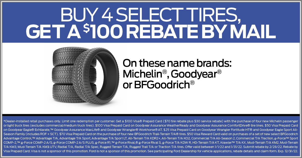 New Tire $100 Rebate Good year Dunlop
