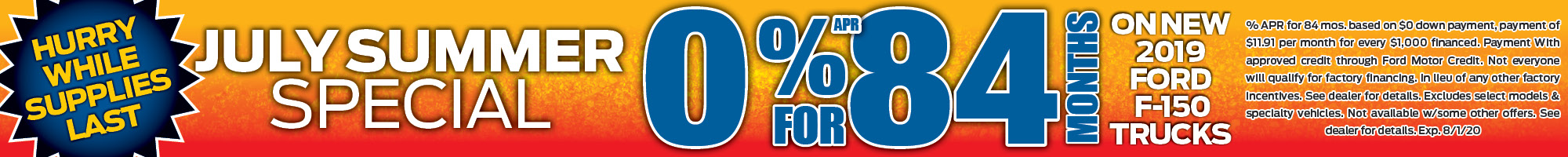 0%apr for 84 months financing special