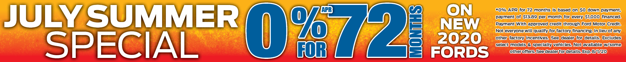 0%apr for 72 months financing special